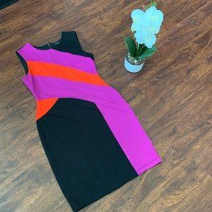 BCBGMaxazria Gladys Color Block Sheath Dress M